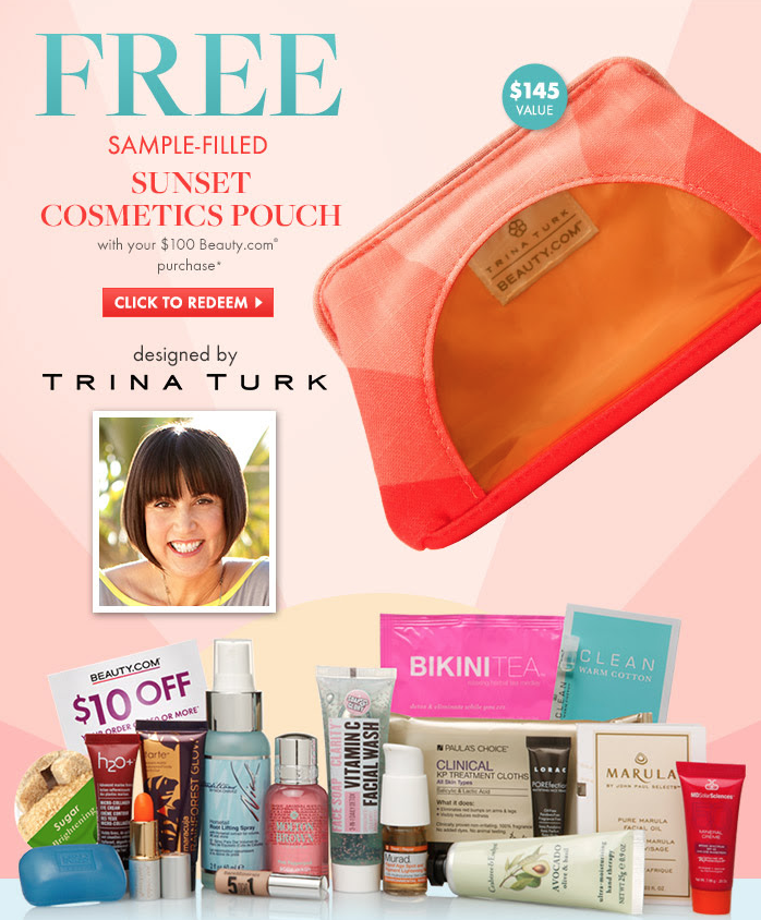 Beauty.com GWP - FREE Sample filled Cosmetic Pouch by Trina Turk!