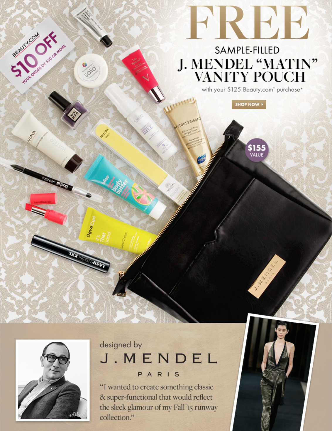 Beauty.com GWP Sample Filled J.Mendel Matin Vanity Pouch!
