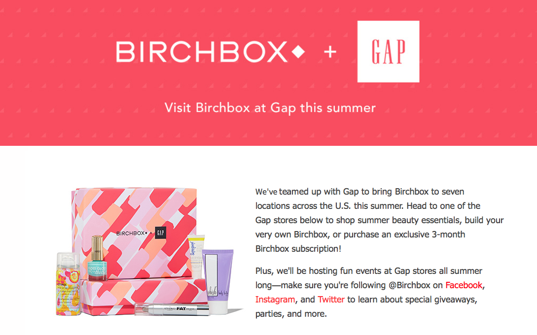 Birchbox and GAP Teams Up for In-Store Deals and Events!