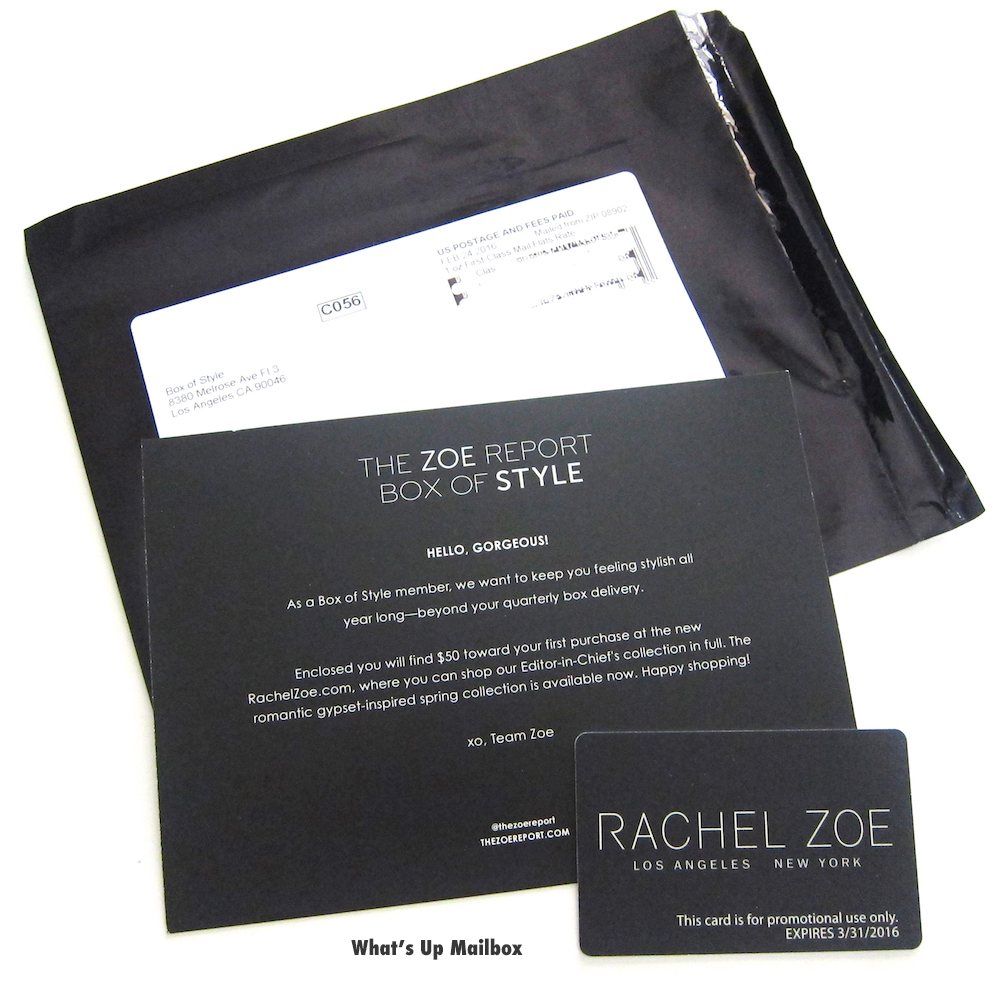Rachel Zoe Box Of Style Surprise Gift!