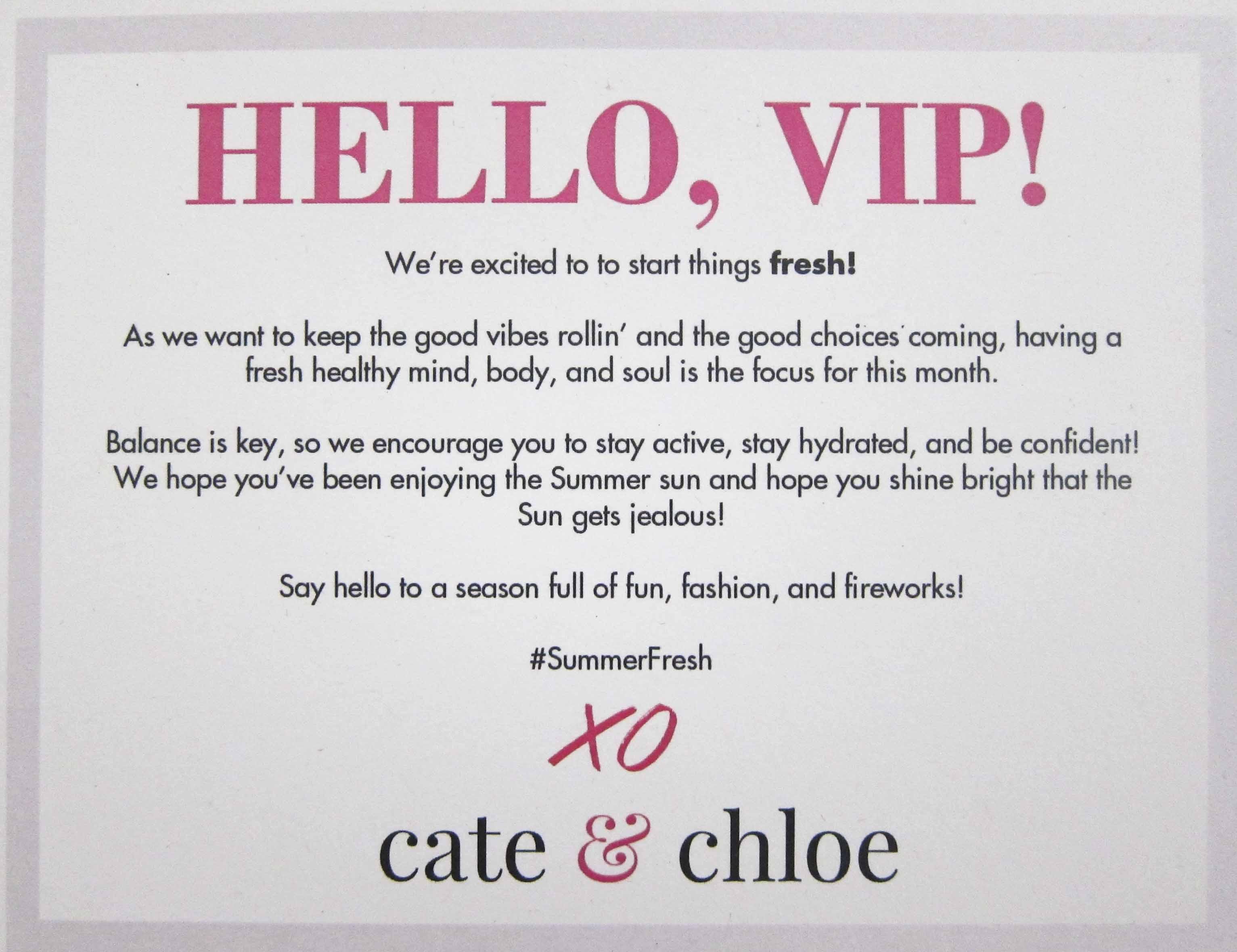 Cate & Chloe VIP July 2016 Info Card