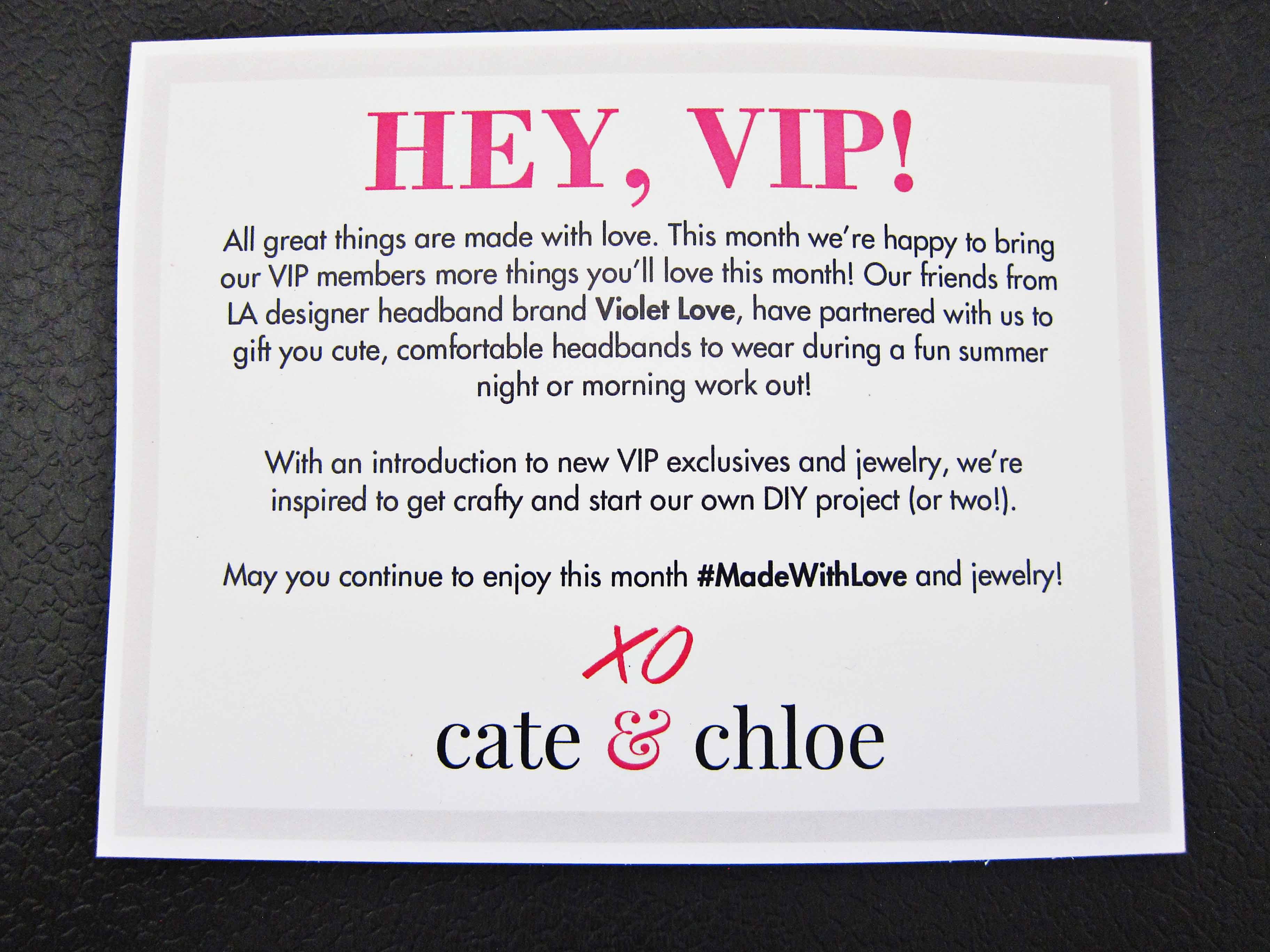 Cate & Chloe VIP August 2016 Info Card
