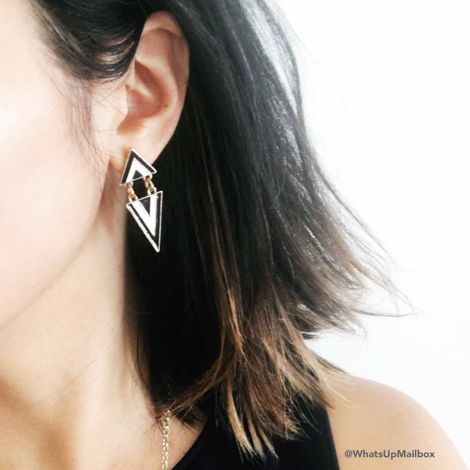 Cate & Chloe Lucia Gifted Triangle Gold Drop Earrings