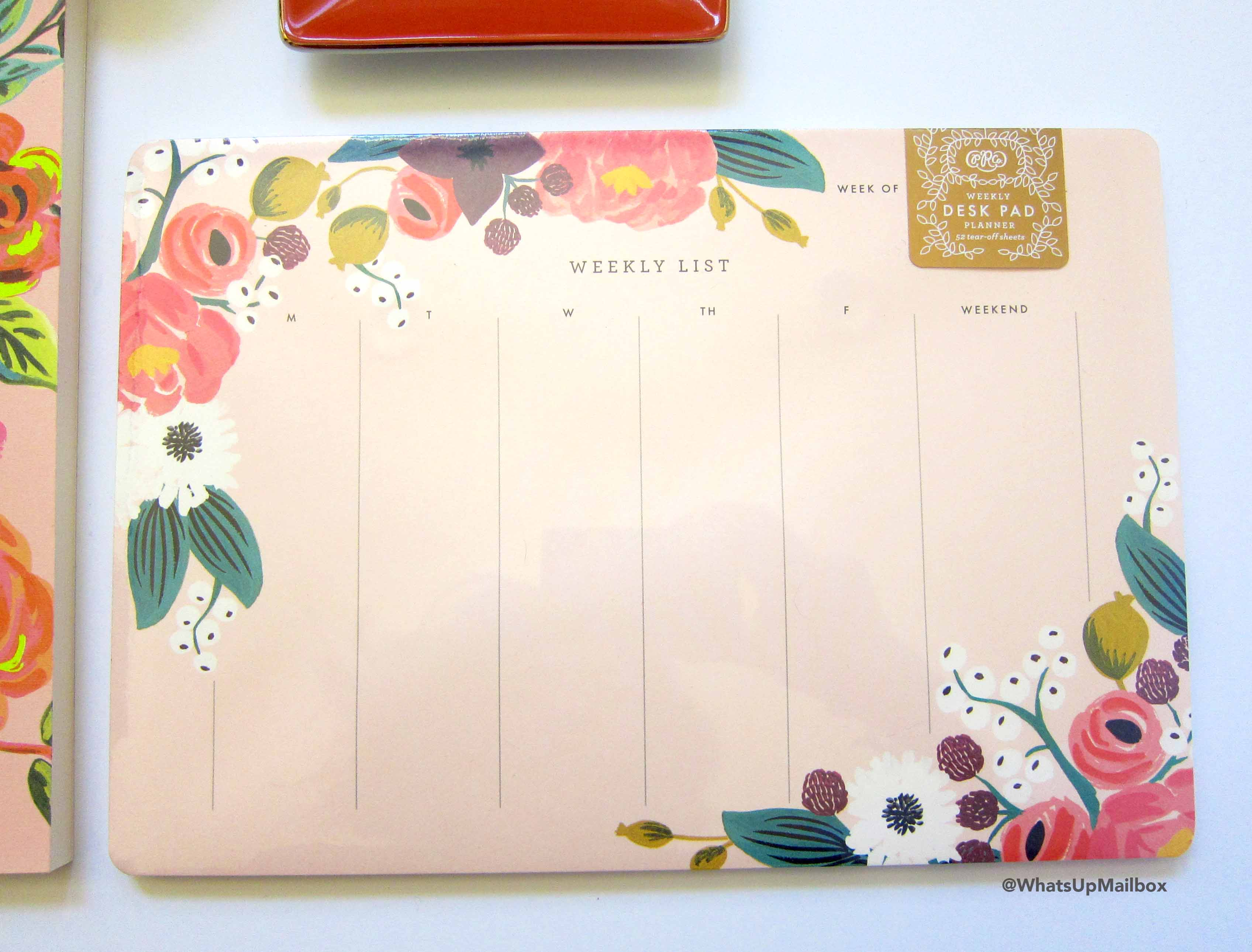 Rifle Paper Co. Pink Floral Weekly Desk Planner