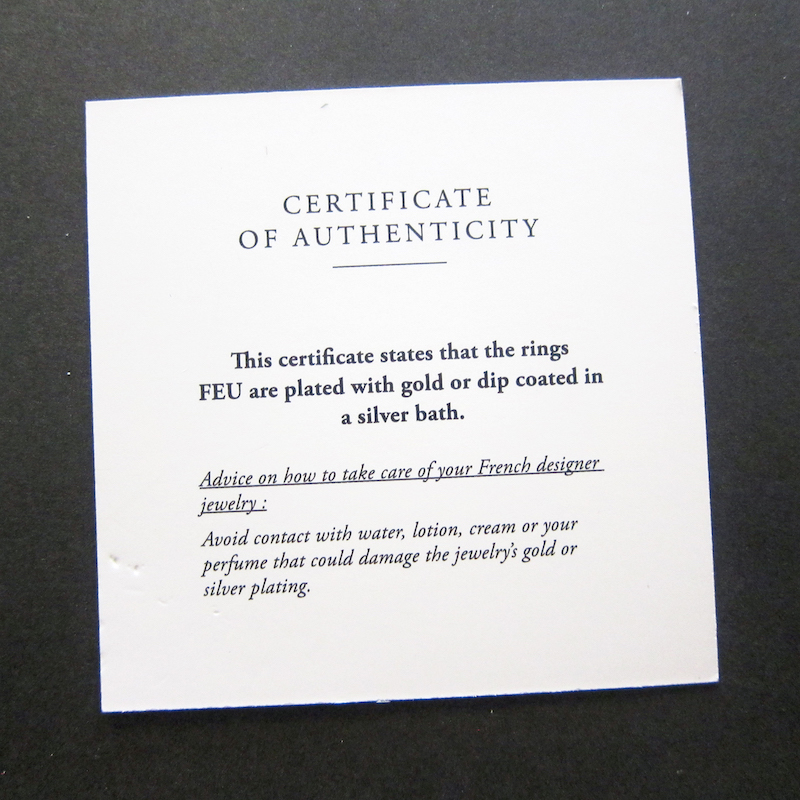 SCHADE JEWELLERY Authenticity Certificate