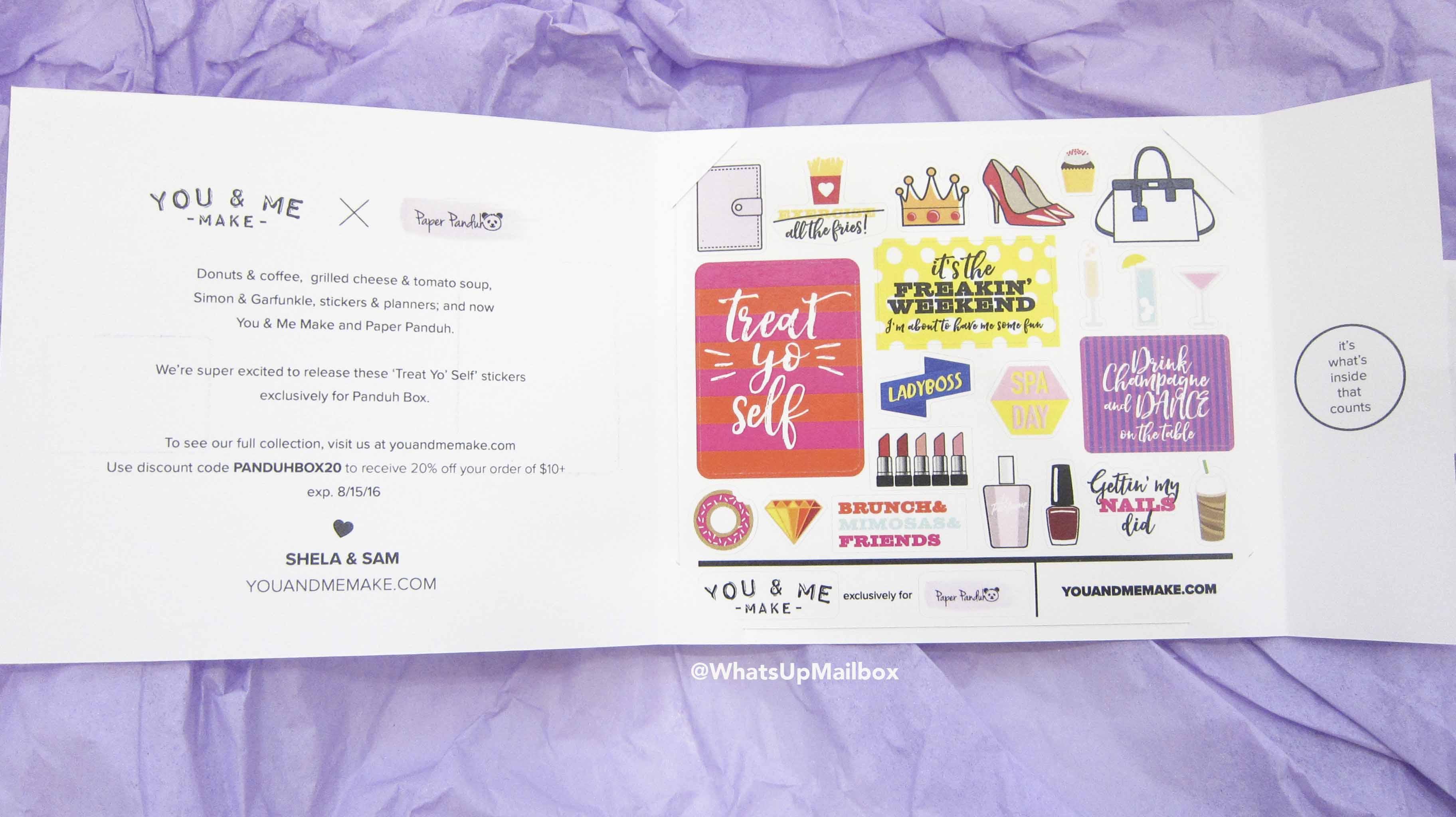Panduh Box July 2016 - You & Me Make Bonus Stickers