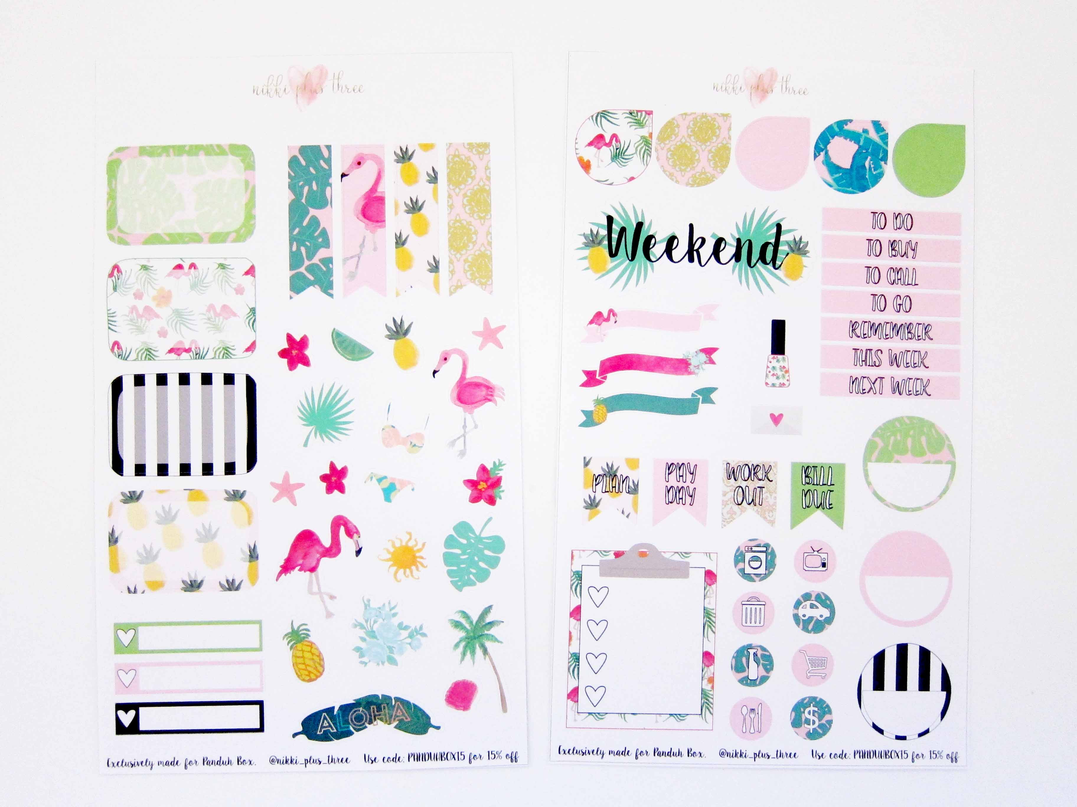 Panduh Box June 2016 Nikki Plus Three Planner Stickers