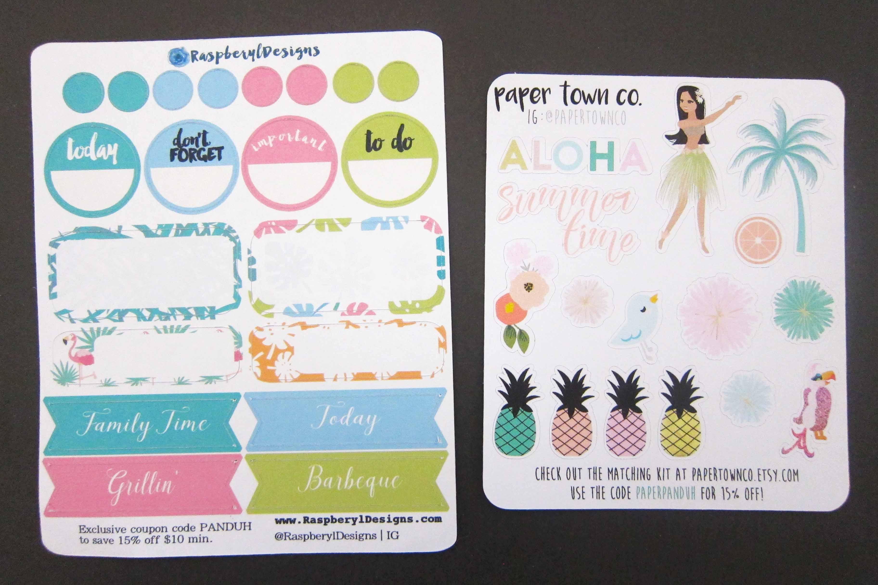 Panduh Box June 2016 Raspberyl Designs Paper Town Co. Stickers