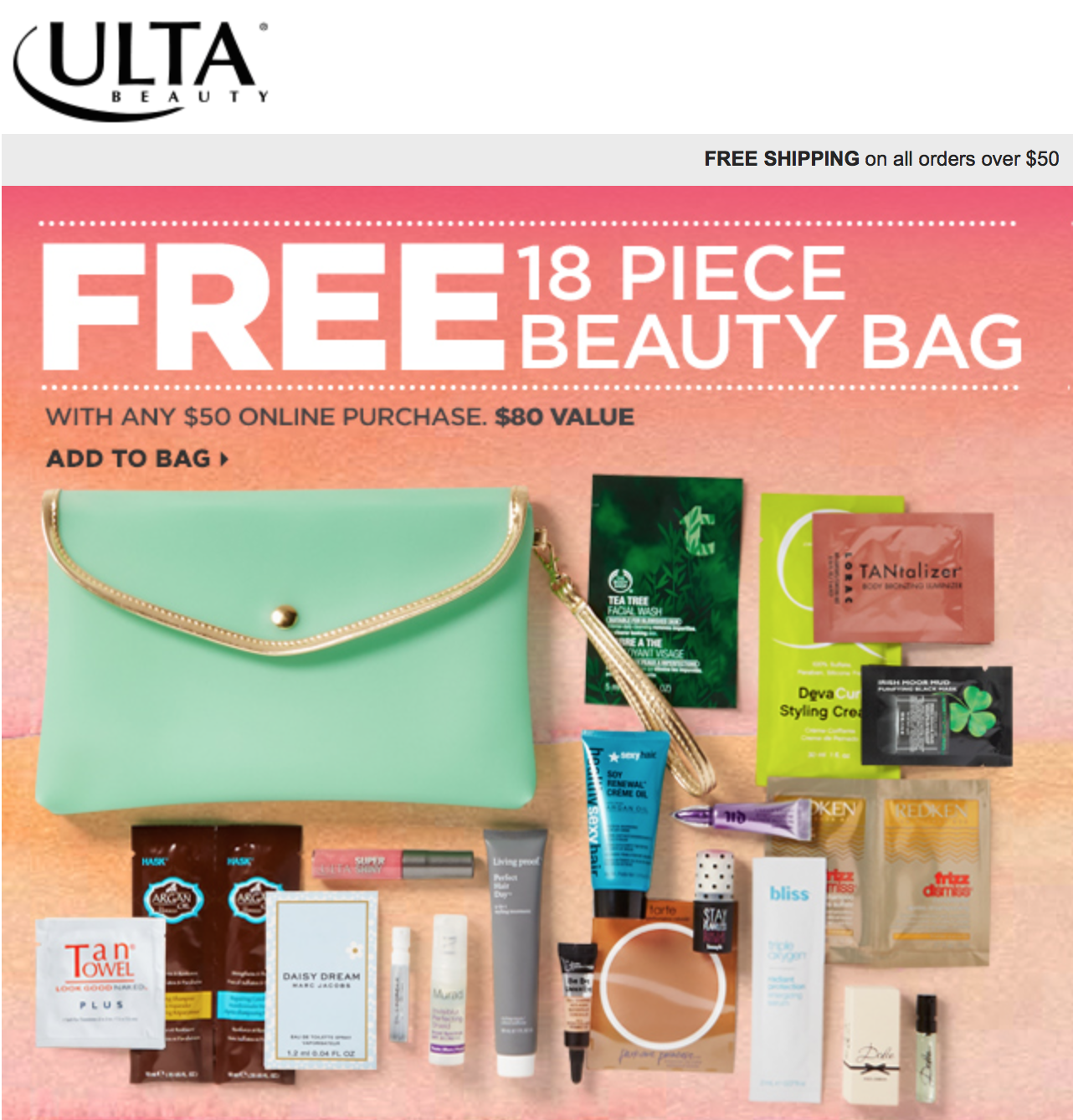 Ulta Gift With Purchase - Free Clutch filled with 18 Samples ...